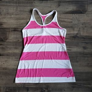 Nike DrI Fit Pink and White Tank Top